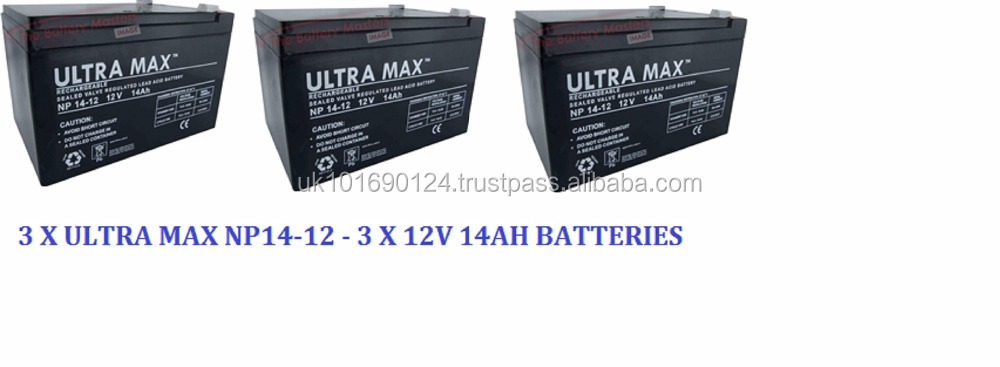3 x ULTRAMAX 12V 14AH BATTERY FOR ELECTRIC BIKE, ELECTRIC SCOOTER & TOY CAR
