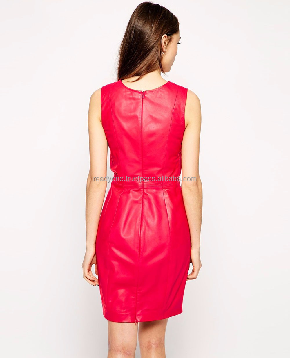 Sexy Summer A-line Cut-out Wool and Leather Casual Dress