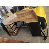 Automobile Furniture Industrial Car Design Office Table Vintage Style Reclaimed Wood Table