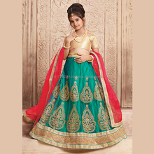 Green Net Festival Wear Embroidery Work Kids Lehenga Choli