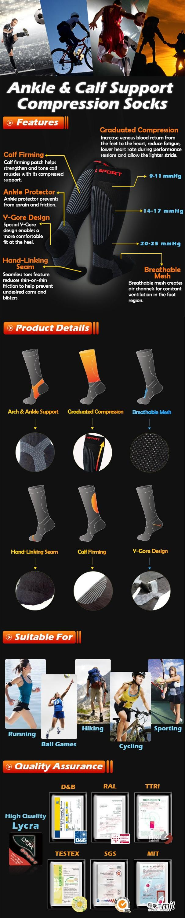 Athletic sports performance-enhancing seamless compression socks