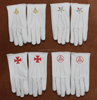 Freemason Masonic Cotton / Leather Gloves with Embroidery or Printing Logo