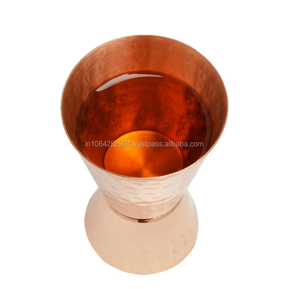 COPPER JIGGER SHOT GLASSES - 100% COPPER DOUBLE JIGGERS - 2OZ / 1OZ