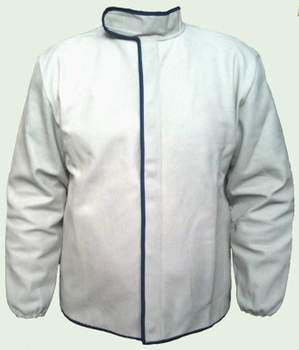 White Welder Apron Protective Coat Long Sleeves Welding Jacket Cow Leather
