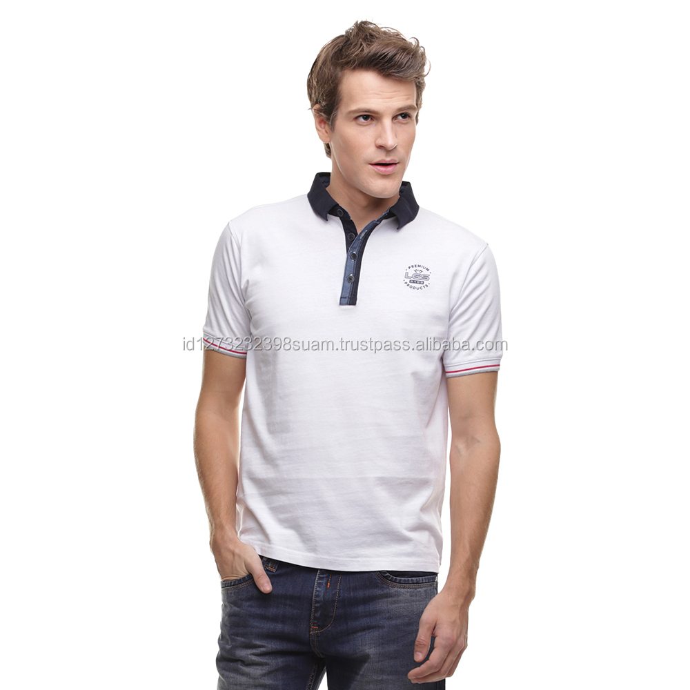 Fashion Men Clothing Slim Fit Polo Shirt Four Buttons Ribbed Cuff