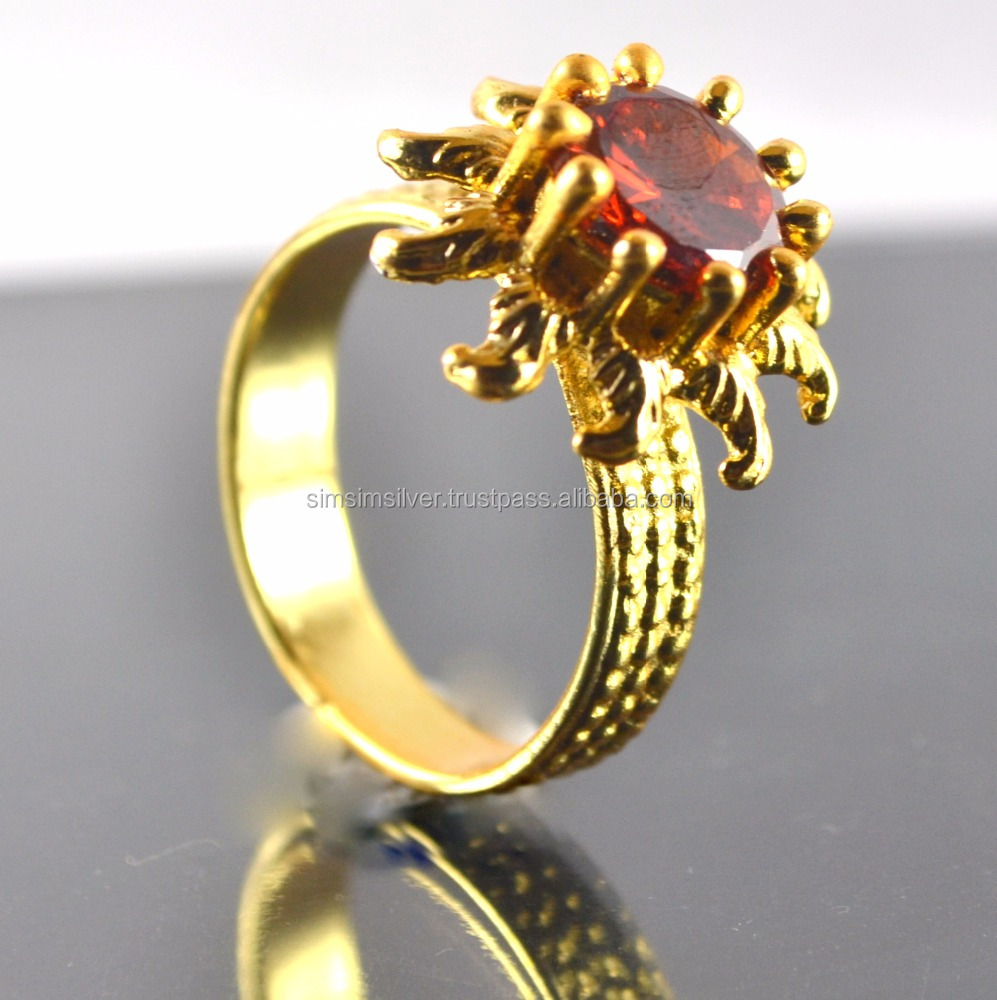 18K Gold Plated Sun costume Design gemstone mens and women Ring