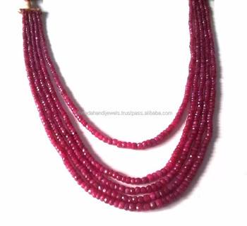 Natural ruby stone round faceted bead necklace