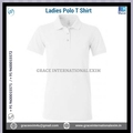 White Plain Ladies Short Sleeve Cotton Polo T shirts with Buttons