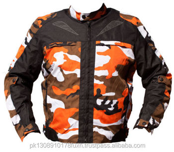 Orange Camouflage CE Armoured Waterproof Motorbike Armoured Jacket Motorcycle Waterproof Coat All Weather CE Approved