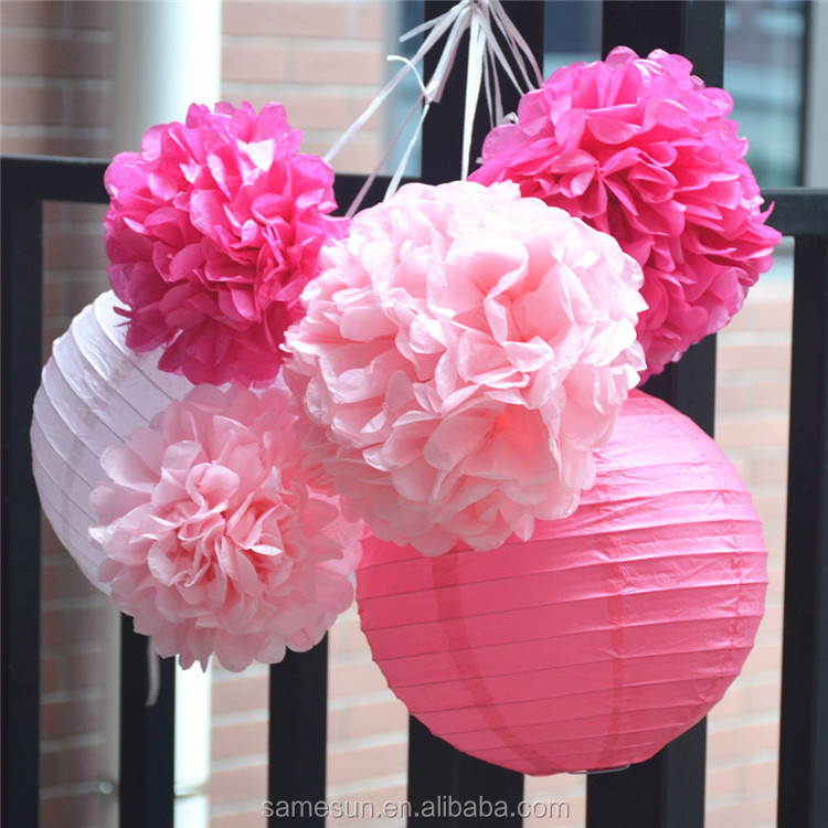 Pink Style Wedding Paper Lantern And Pom Poms Decoration Set