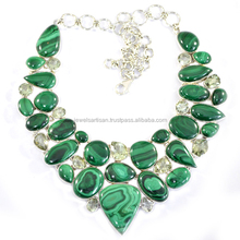 Natural Malachite And Green Amethyst Gemstone 925 Sterling Silver Necklace