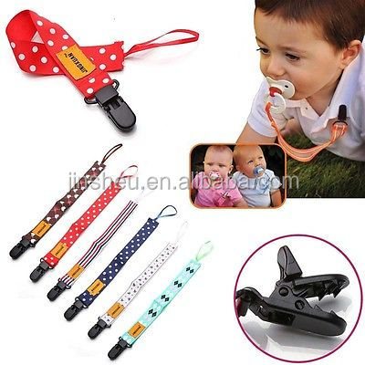 Custom Logo Dye Sublimation Printed Satin Baby Soother Clips