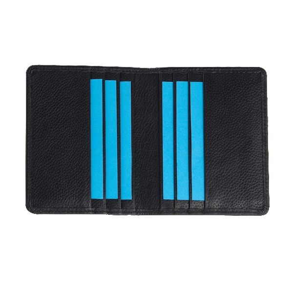 Leather black id card holder with neck holder chain strap