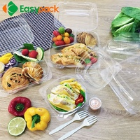 food grade 6 inch recycling plastic transparent tray clamshell salad to go
