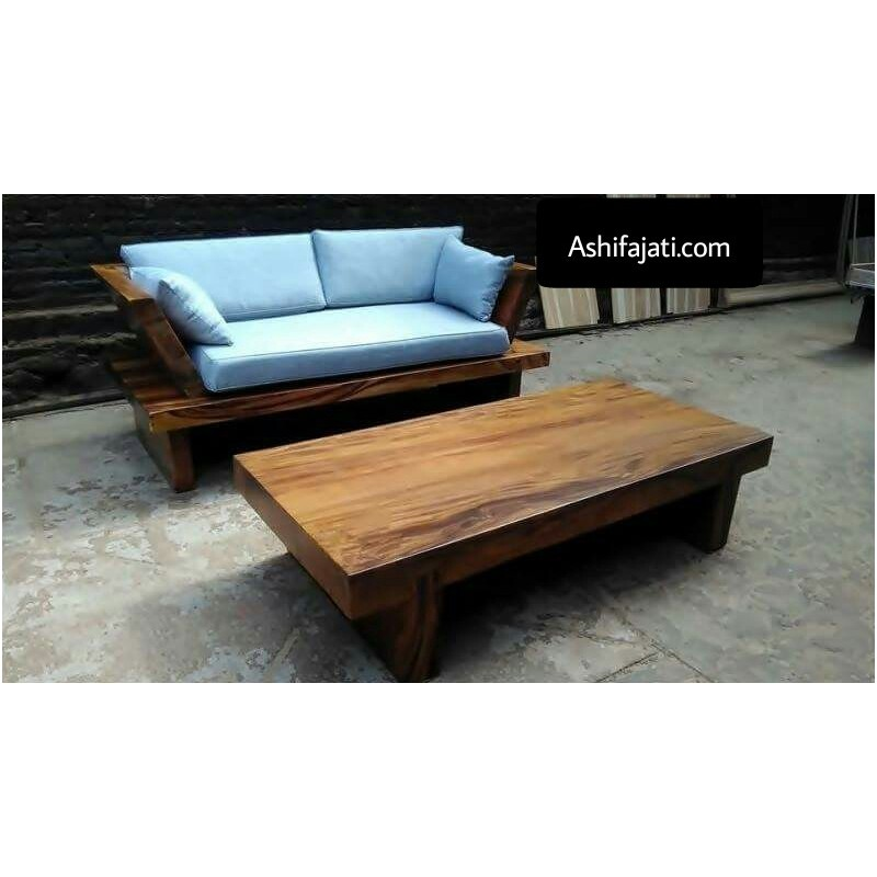 Best seller minimalis design Sectional Sofa Frame Set and suar wooden Table Furniture