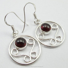 Fashions Fancy High Quality Jewelry Manufacturer WOMEN'S Earrings Rare GARNET 925 Solid Silver Jewelry 3.7 CM INEXPENSIVE GIFT