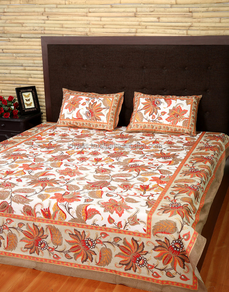 100% Cotton Floral Printed Off White And Flam Red Comforter Bed Sheet