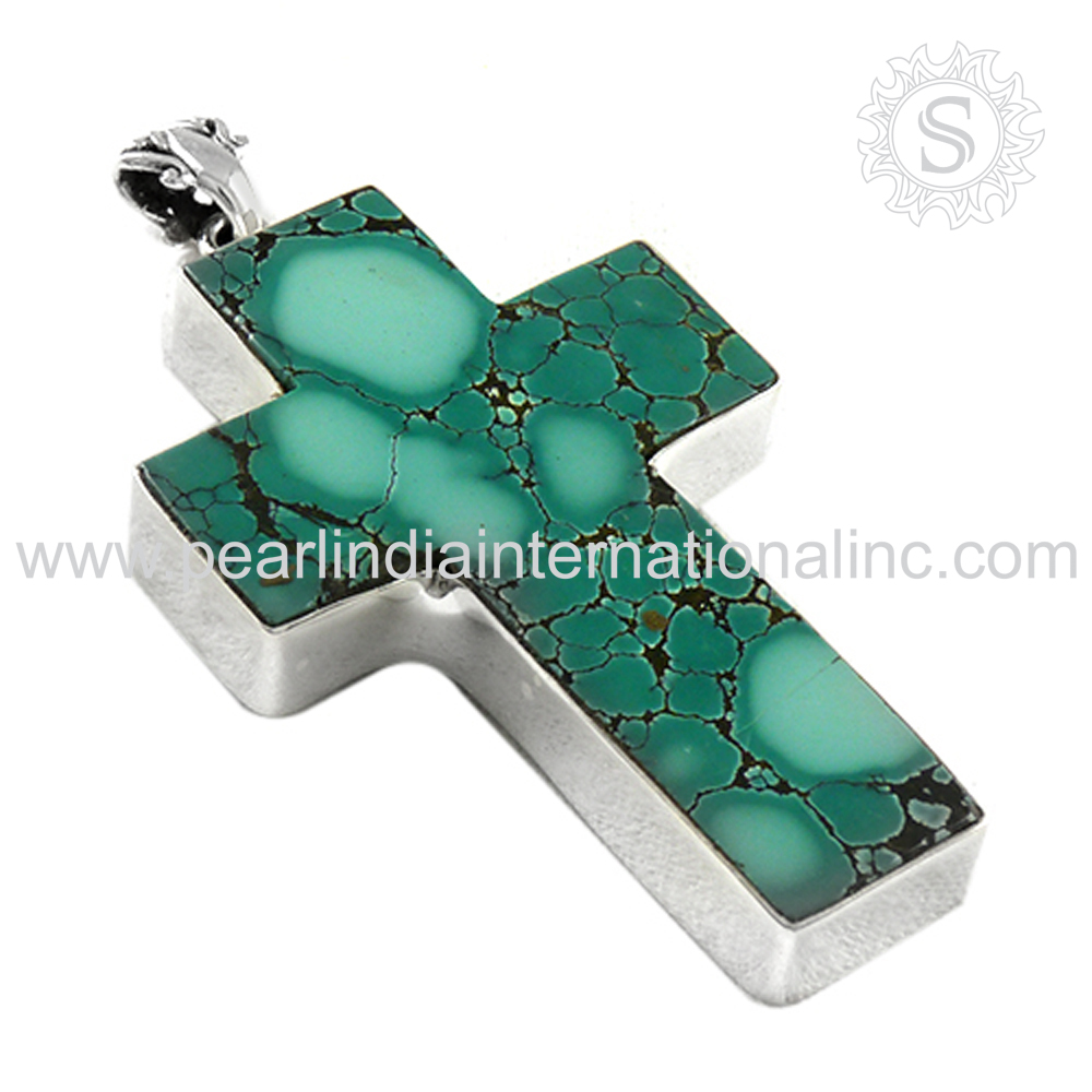 High quality 925 sterling silver cross turquoise pendant gemstone silver jewelry supplier wholesaler