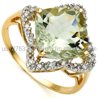 CLASSIC 4.02 CARAT TW (21 PCS) GREEN AMETHYST & GENUINE DIAMOND 10K SOLID YELLOW GOLD RING
