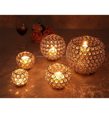 Gold crystal ball candle holder for wedding centerpiece, Crystal beaded tea light holder