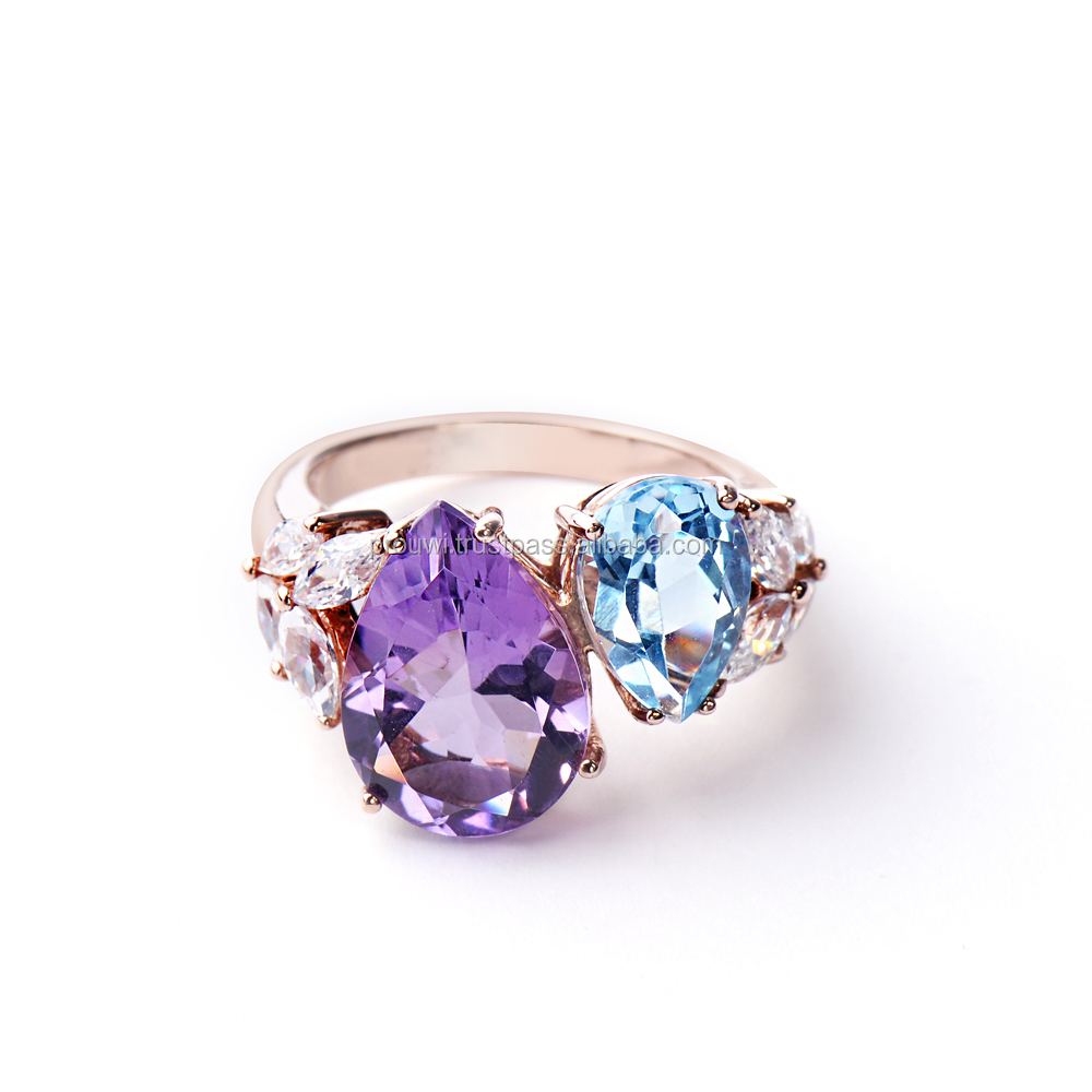 Marvelous Pear Shape Gemstone Design Silver Ring with Sky Blue Topaz and Amethyst