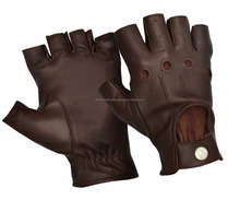CLASSIC LEATHER FINGERLESS SKIN FIT DRIVING GLOVES BUS BIKER WHEELCHAIR CHAUFFEUR