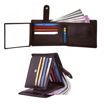 Rfid blocking technology genuine leather 8-12 card slots mens wallet