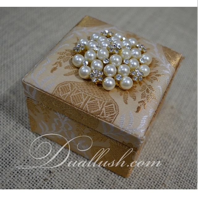 Wedding Favor Box Brocade Silk Favor Box Wedding Pearl Rhinestone Embellishment