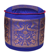 Home Furniture Pouf Storage Ottoman Silk Brocade Wholesale Foot Stool Cover Blue Bean Bag Cover