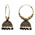 Black Color Beads Traditional Jhumka Earrings