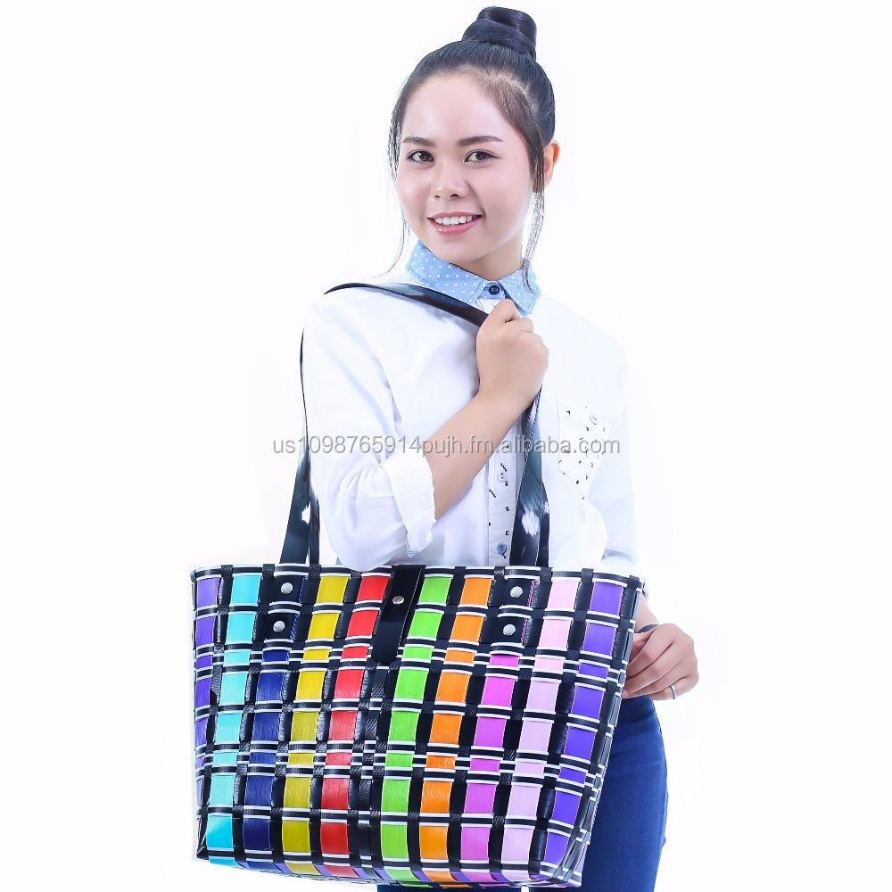 MULTI COLOR Shopping Basket Woven PP Polypropylene