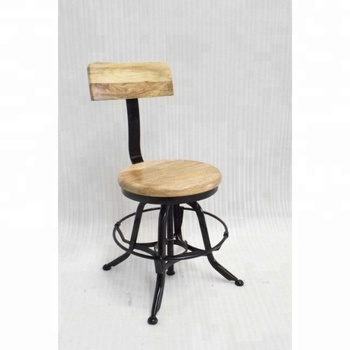 Metal Swivel Wood Seat Industrial Stool