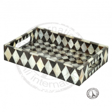 HORN AND BONE INLAY SERVING TRAYS DECORATIVE DESIGNS