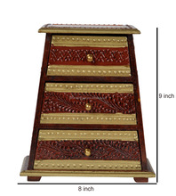 Handmade Wooden Bajot Meenakari Antique Style Chest Of Drawer Hand Painted Furniture Cabinet With 3 Drawers