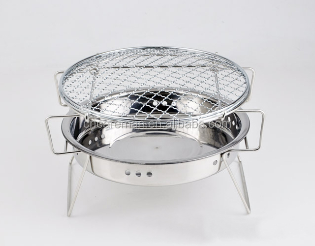 Premium Stainless Steel Folding Round Table Top Charcoal Bipod BBQ/Barbecue Grill with Carry Bag OEM Orders Accepted