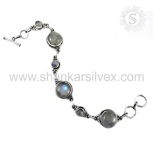 Indian graceful 925 sterling silver rainbow moonstone bracelet silver jewelry exporter