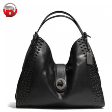 2018 fashion lady black leather tote bag women hand bag brands bags