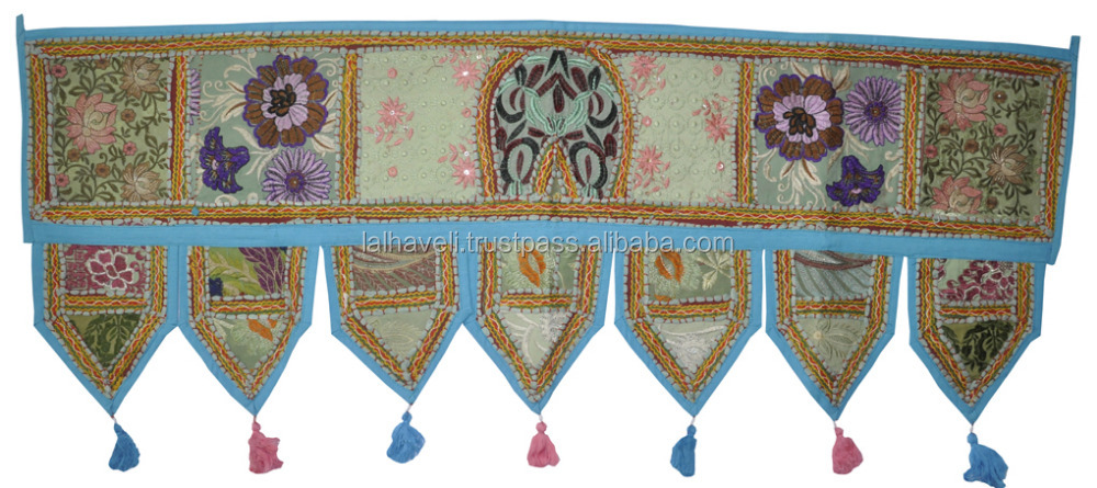 Vintage Turquiose Indian Hand Embroidered Door Hanging Cotton Toran Window Good luck Valance