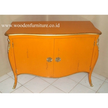 Wooden Sideboard Antique Reproduction Commode French Style Vintage Cabinet European Style Home Furniture Mahogany Painted
