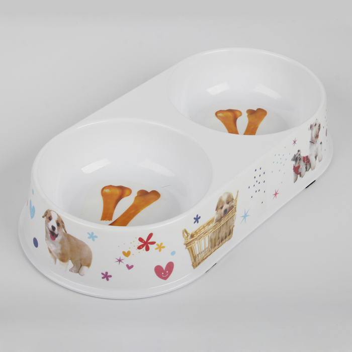 Anti-slip high quality 14Inch double melamine pet bowl