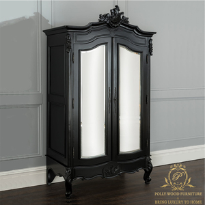 Royal European Designs Black Wardrobe Home Set French Style Mahogany Wood Bedroom Furniture