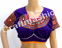 Vintage Navratri Mirror Work Blouse-Traditional Banjara Blouse-Vintage Kutch Back Less Embroidered Blouse