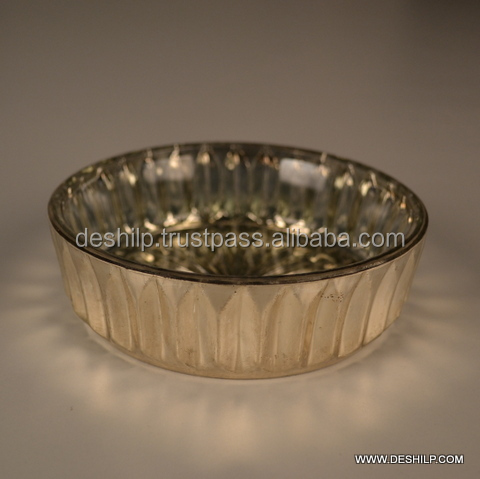 SILVER GLASS BOWL ROUND SHAPED