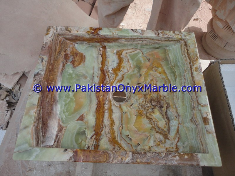 NATURAL STONE DARK GREEN ONYX SQUARE VESSELS SINKS BASINS COLLECTION