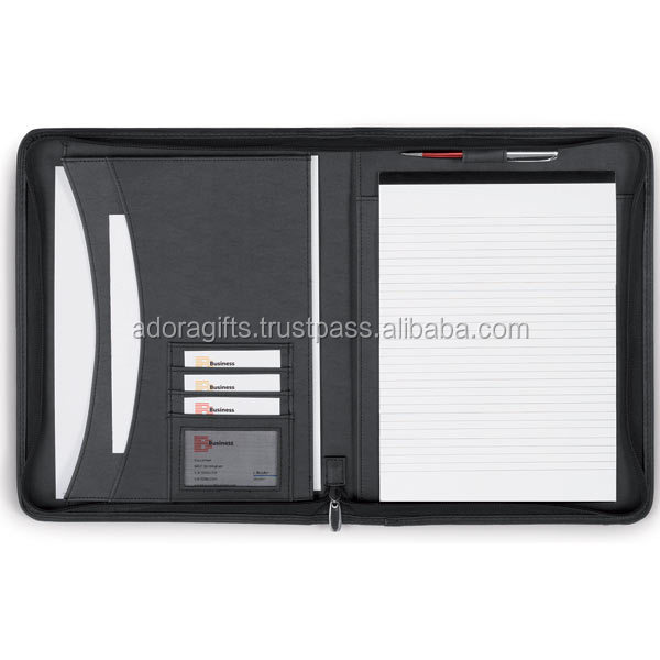 Business Portfolio Folders As Conference Folder Zipped Leather Notepad Portfolio File Separators Accordions For Sale