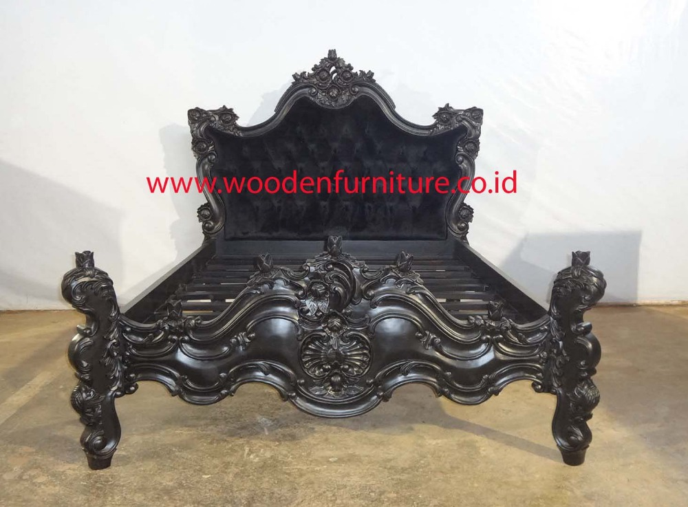 rococo baroque bed french style bedroom set wooden carved bed