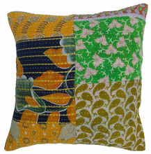cotton vintage kantha patch work cushion cover