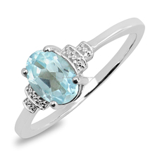 Ashok Jewels Natural Sky Blue Topaz Solitaire 925 Sterling Silver Ring