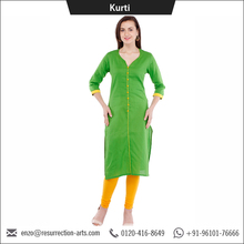 New Design Fancy Green Color V Neck Long Cotton Lady Kurti
