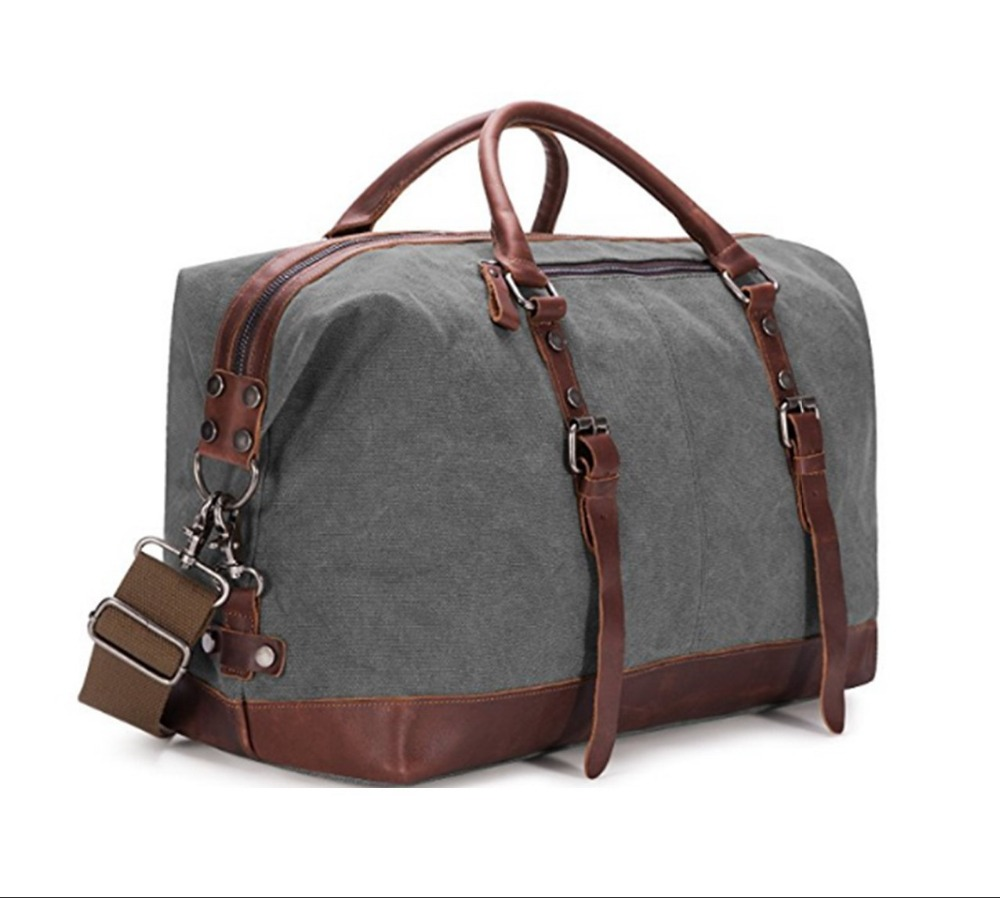 Canvas PU leather travel tote bag Leather hand bag Wholesale canvas tote bag Handbag Leather handbag Tote bag cotton (KL37077)